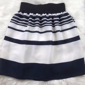 Zara Navy & White Stripe Skirt